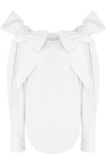 Хлопковая блуза с объемными бантами на плечах Chloé