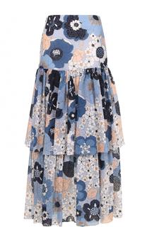 Многоярусная юбка-макси с принтом Chloé