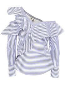 Хлопковая блуза асимметричного кроя в полоску self-portrait