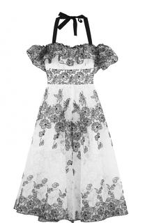 Платье с контрастной вышивкой и открытыми плечами Blugirl