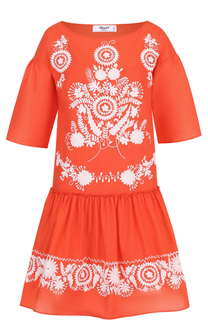 Платье с контрастной вышивкой и оборкой Blugirl