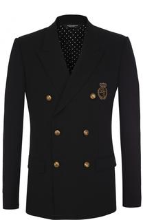 Шерстяной двубортный пиджак с вышивкой Dolce & Gabbana