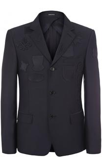 Однобортный пиджак с нашивками Alexander McQueen