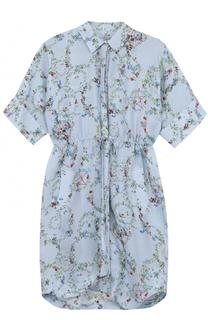 Шелковое платье-рубашка с цветочным принтом PREEN by Thornton Bregazzi