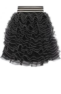 Многоярусная мини-юбка с широким поясом Alexander McQueen