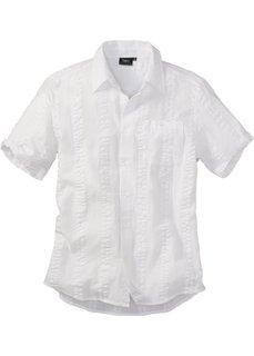 Рубашка из ткани сирсакер, стандартного прямого покроя regular fit (белый) Bonprix