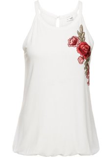 Классика гардероба: топ с вышивкой (кремовый) Bonprix