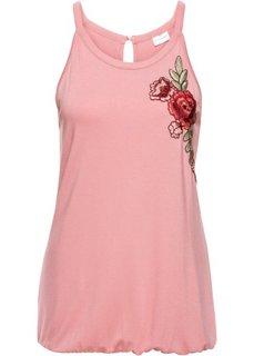 Классика гардероба: топ с вышивкой (пепельно-розовый) Bonprix