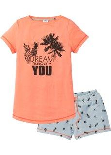 Пижама с шортами (лососевый/нежно-голубой с рисунком) Bonprix