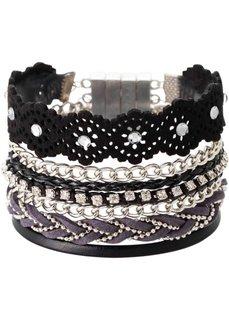 Многорядный браслет (черный/серебристый) Bonprix