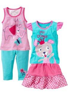 Топ + футболка + юбка + леггинсы длиной 3/4 (4 изделия) (ярко-розовый/аква) Bonprix