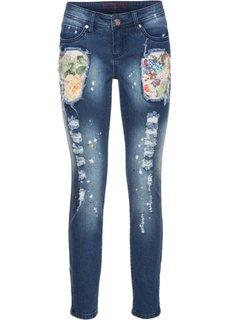 Цветные джинсы с эффектом потертости (синий «потертый») Bonprix