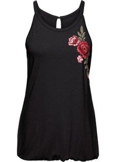 Классика гардероба: топ с вышивкой (черный) Bonprix