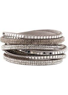 Блестящий браслет для обертывания вокруг запястья с заклепками (серый) Bonprix