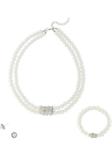 Колье + браслет + пусеты из декоративных жемчужин (3 изд.) (кремовый/серебристый)