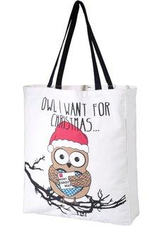 Сумка-мешок с новогодней совой (белый/черный) Bonprix