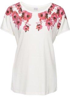 Классика гардероба: футболка с цветочным рисунком (кремовый/розовый с рисунком) Bonprix