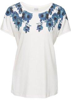 Классика гардероба: футболка с цветочным рисунком (кремовый/синий с рисунком) Bonprix