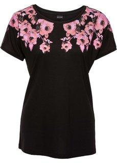 Классика гардероба: футболка с цветочным рисунком (черный/розовый с рисунком) Bonprix