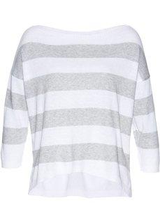 Пуловер (белый/светло-серый меланж) Bonprix