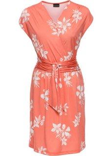 Трикотажное платье с эффектом запаха (лососевый/белый с рисунком) Bonprix