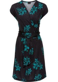 Трикотажное платье с эффектом запаха (черный/темно-изумрудный с рисунком) Bonprix
