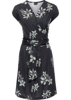 Трикотажное платье с эффектом запаха (черный/белый с рисунком) Bonprix