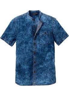 Джинсовая рубашка Slim Fit с коротким рукавом (темно-синий) Bonprix