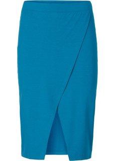 Трикотажная юбка с запахом (сине-зеленый) Bonprix