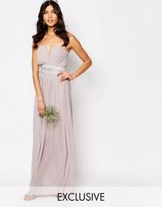 Платье макси с декорированной талией и складками TFNC WEDDING - Фиолетовый