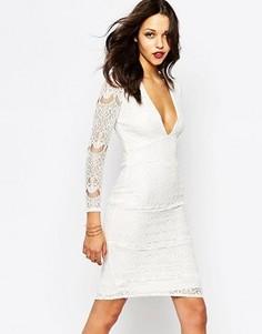 Белое кружевное платье миди с глубоким вырезом Boohoo - Белый