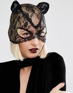Кружевная маска кошки Leg Avenue Halloween - Черный