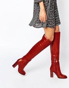 Кожаные красно-бурые ботфорты на каблуке Sam Edelman Rylan - Красный