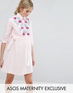 Платье-рубашка с вышивкой ASOS Maternity - Розовый