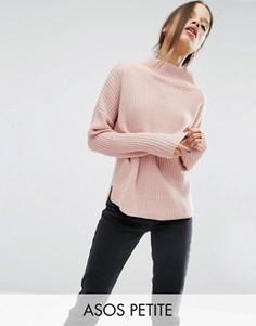Джемпер крупной вязки с высокой горловиной ASOS PETITE - Розовый