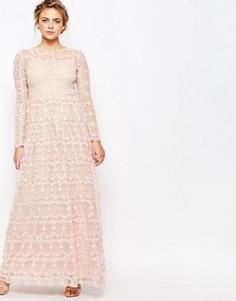 Платье макси со сплошной цветочной аппликацией True Decadence - Розовый