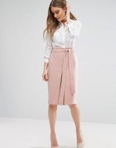 Трикотажная юбка-карандаш с завязкой на талии и разрезом Closet - Розовый