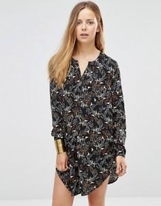 Удлиненная рубашка с разрезами по бокам и принтом Only - Черный