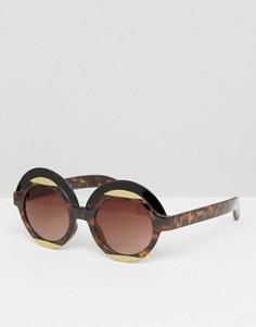 Круглые солнцезащитные очки в стиле ретро Monki - Коричневый