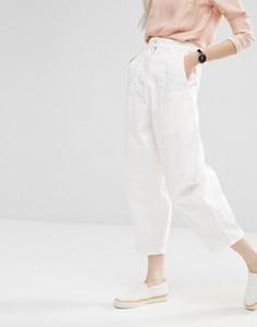Укороченные джинсы овального кроя ASOS WHITE - Кремовый