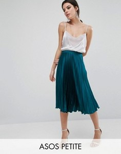 Атласная юбка миди со складками ASOS PETITE - Зеленый