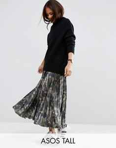 Атласная плиссированная юбка с камуфляжным принтом ASOS TALL - Мульти