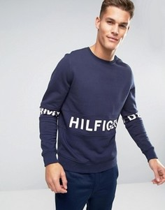 Темно-синий свитшот с крупным логотипом Hilfiger Denim - Темно-синий