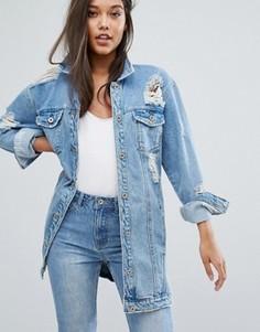 Состаренная джинсовая куртка Missguided - Серый