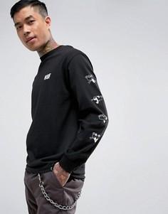 Лонгслив с принтом на рукавах HUF x Pink Panther - Черный