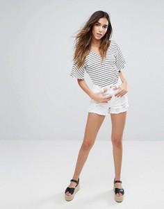 Джинсовые шорты с рваной отделкой New Look - Белый