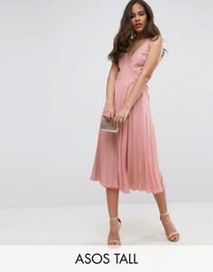 Плиссированное платье миди с запахом ASOS TALL - Розовый
