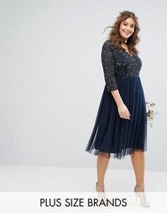 Платье миди с рукавами 3/4, V-образным вырезом и отделкой пайетками Lovedrobe Luxe - Темно-синий