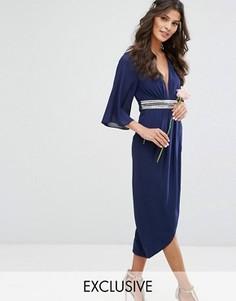 Платье миди с рукавами-кимоно и запахом на юбке TFNC WEDDING - Темно-синий