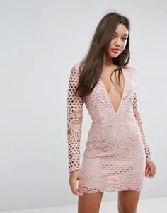 Кружевное облегающее платье Missguided - Бежевый
